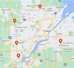 Map of the six Expresso Car Wash locations